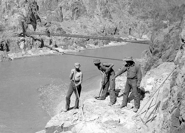 58002ab302 A CCC worker installs part of the trans-canyon telephone line. Credit  Grand  Canyon National Park